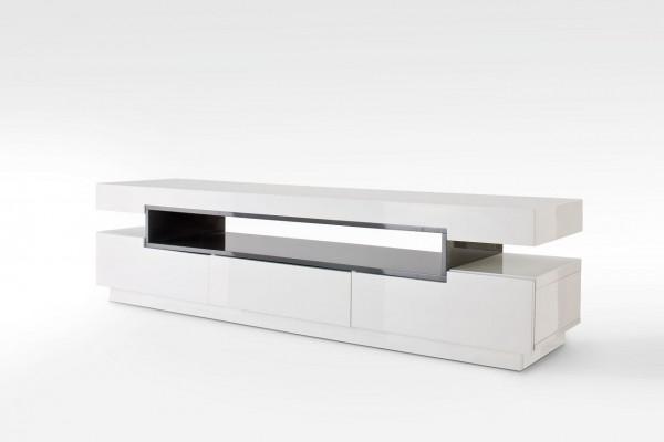 """TV-Lowboard """"Haldor"""", Hochglanz weiß, grau, 200x52x50 cm"""